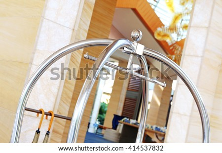 Trolley Luggage at the hotel - stock photo