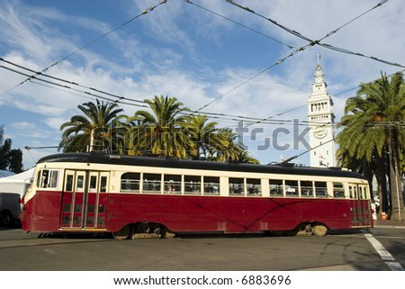 Trolley or tram in San Francisco - stock photo