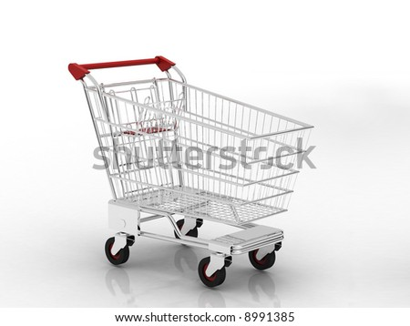 trolley shopping chart with white background