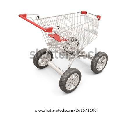 Trolley with wheels from the car. The concept of discounts in shops. 3d render image. - stock photo