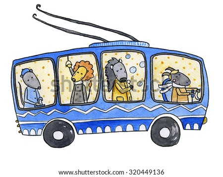 Trolleybus Watercolor illustration - stock photo