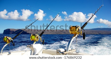 Trolling rods for deep sea fishing - stock photo