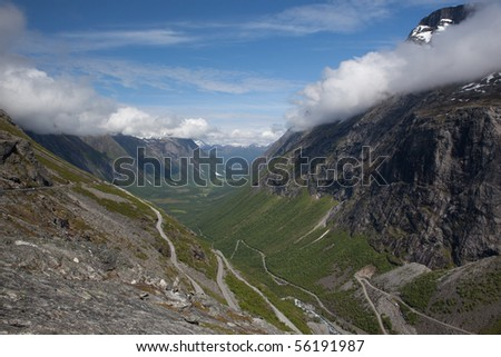 Trollstigen mountain pass in Norway - stock photo