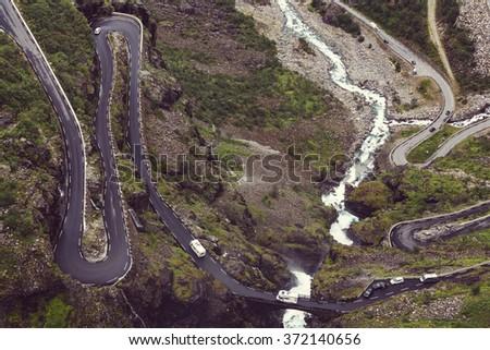 Trollstigen, Troll's Footpath, serpentine mountain road in Norway - stock photo