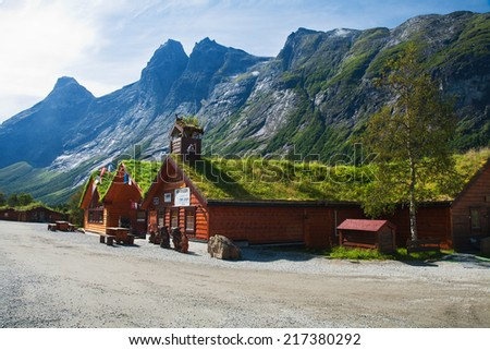 TROLLVEGGEN, NORWAY - AUGUST 12, 2011 - In a picturesque place on the lookout located souvenir shops in the traditional Norwegian style - stock photo