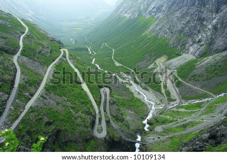 Trolstigen road is one of the dangerous way to the charming view from the top. - stock photo