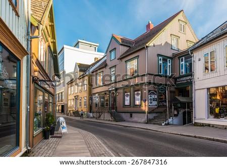 TROMSO, NORWAY - JULY 02, 2014: Urban scenics of the city of Tromso, Norway - stock photo