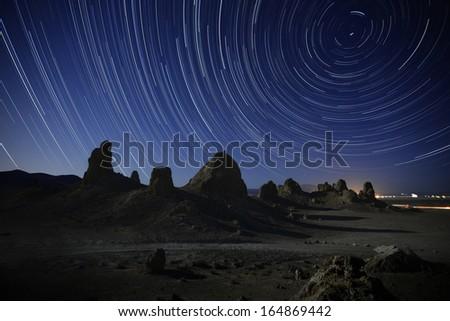 Trona Pinnacles 01 North Star Star Trails California USA - stock photo