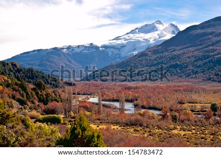Tronador stratovolcano in the southern Andes, border between Argentina and Chile, Southern Volcanic Zone, Patagonia, Bariloche - stock photo