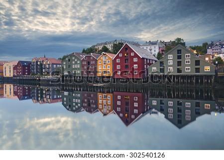 Trondheim. Image of norwegian city of Trondheim during twilight blue hour. - stock photo