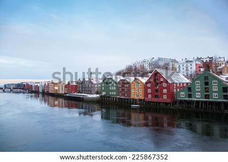Trondheim winter cityscape Norway  - stock photo