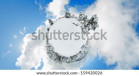 Troodos moiuntains. Snowy little planet. Cyprus - stock photo