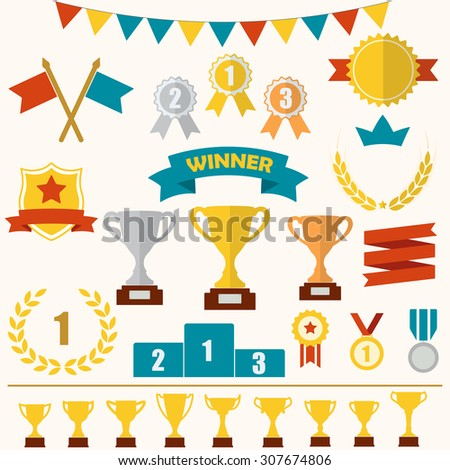 Trophy and awards icon set: laurel wreath, winning trophy cup, crown, medals, pedestal, flags, ribbons. Colorful illustration.