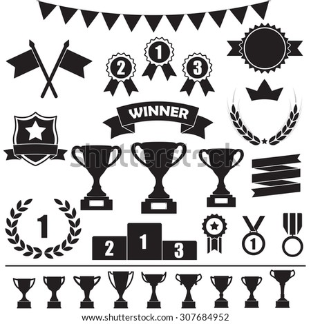 Trophy and awards icon set: laurel wreath, winning trophy cup, crown, medals, pedestal, flags, ribbons.  - stock photo