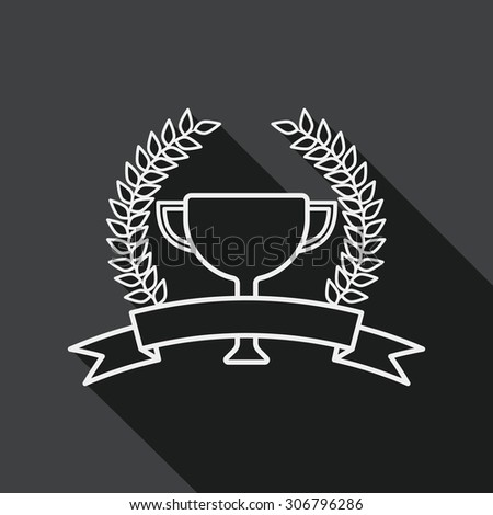 trophy cup and laurel flat icon with long shadow, line icon