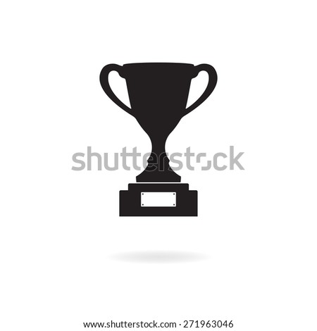 Trophy cup icon or sign on white background. Winning champions cup.  - stock photo