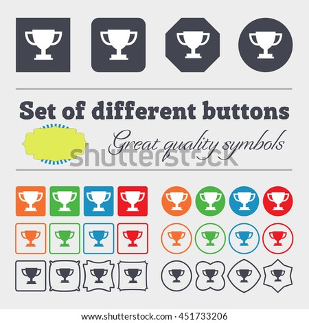 Trophy Cup icon sign. Big set of colorful, diverse, high-quality buttons. illustration - stock photo