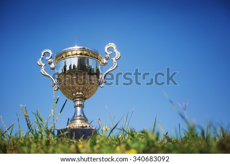 trophy cup isolated on nature background - stock photo
