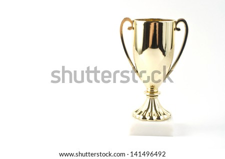 Trophy cup on white background - stock photo