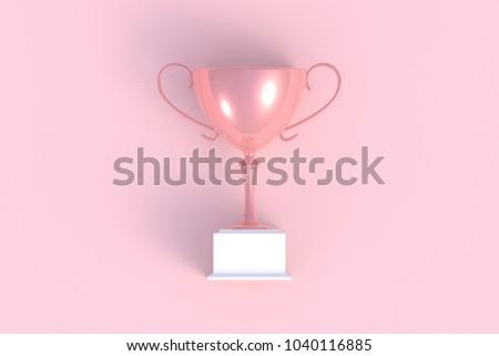 trophy on pink plank 3 d rendering stock illustration 1040116885