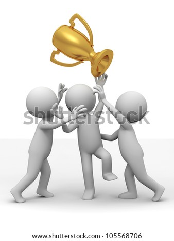 trophy/Three people are fighting for the cup - stock photo