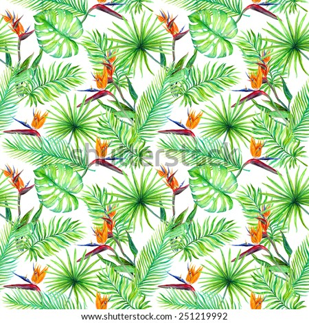 Tropic leaves and exotic bird flowers. Repeating pattern. Watercolor - stock photo