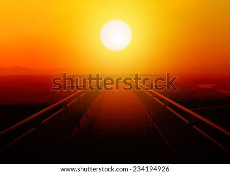 tropical balcony with mountain view and sun - stock photo