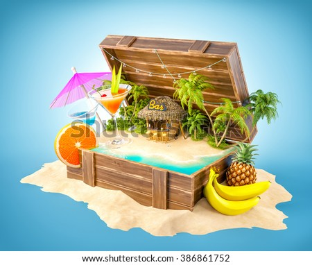 Tropical bar with cocktails and fresh fruits on the island inside opened wooden box on a pile of sand. Unusual party illustration - stock photo