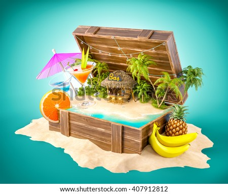 Tropical bar with cocktails and fresh fruits on the island inside opened wooden box on a pile of sand. Unusual party illustration. 3D illustration - stock photo