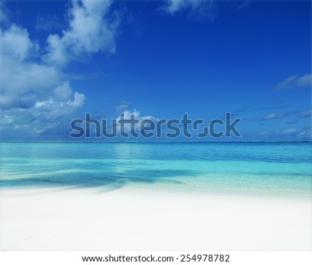 Tropical beach and blue sky background  - stock photo