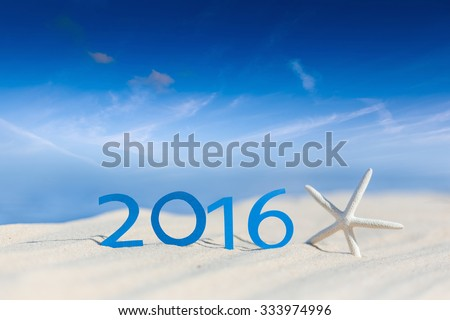 tropical beach and 2016 happy new year. Season vacation snd new year concept  - stock photo
