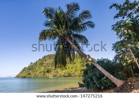 Tropical beach and lush vegetation of Nosy Be island, northern Madagascar - stock photo