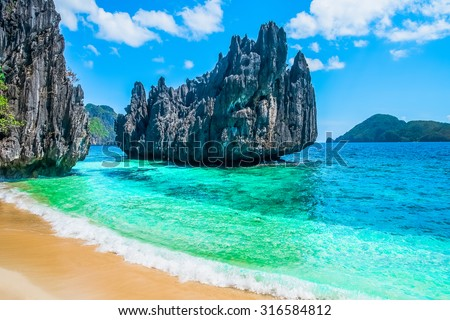 Tropical beach and mountain islands, Philippines, Southeast Asia - stock photo