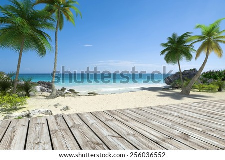 Tropical beach and wooden deck  - stock photo