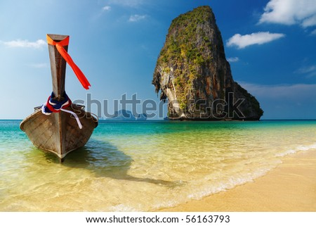 Tropical beach, Andaman Sea, Thailand - stock photo