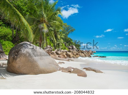 Tropical beach Anse Georgette at island Praslin, Seychelles - vacation background - stock photo