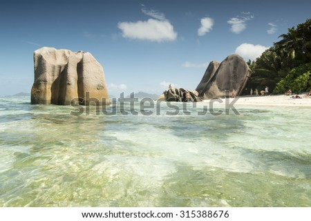 Tropical beach Anse Source D'Argent at La Digue Island, Seychelles - vacation background - stock photo