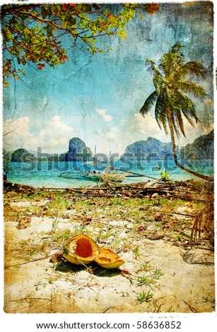 tropical beach - artwork in painting style - stock photo