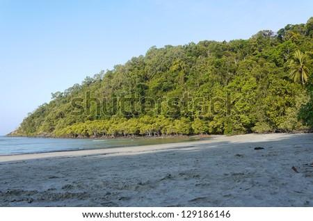 tropical beach at Cape Tribulation, Queensland/Australia - stock photo