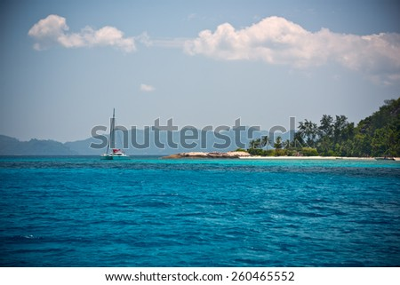 Tropical beach at Mahe island Seychelles. Horizontal shot with selective focus - stock photo