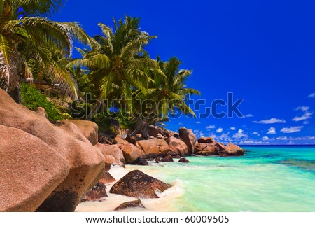 Tropical beach at Seychelles - vacation background - stock photo