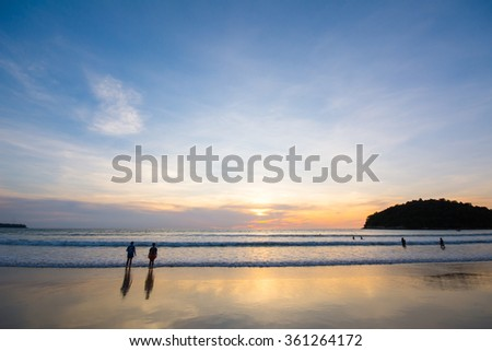 Tropical beach at sunset and nature background