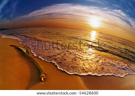 Tropical beach at sunset, Chang island, Thailand - stock photo