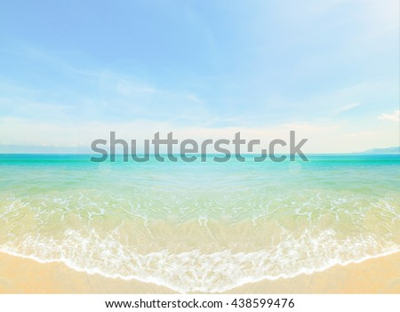 Tropical beach background with blue sky.