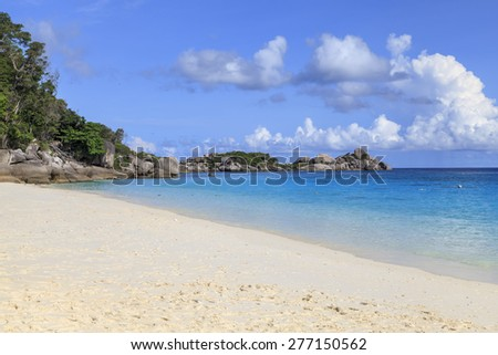 Tropical beach beautiful sea and blue sky at Similan island, Andaman sea, Thailand