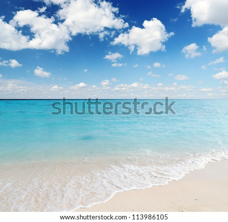 Tropical beach. Blue sky and clear water.