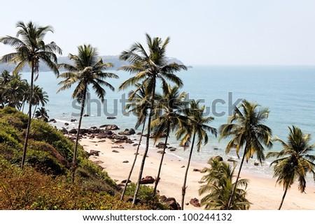 tropical beach Cabo de Rama in Goa state in India - stock photo