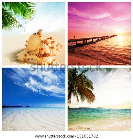 tropical beach collage - stock photo