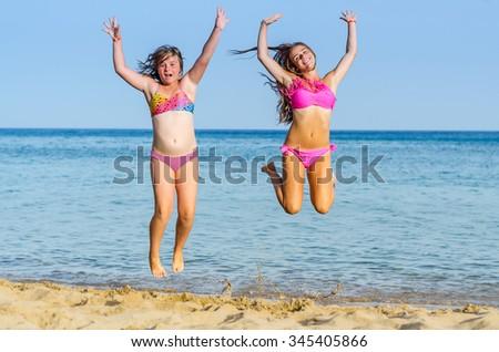 Tropical beach happiness - stock photo