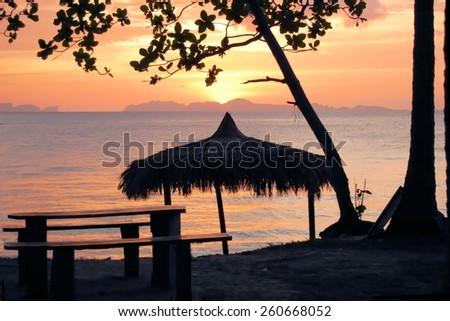 Tropical beach hut bungalow on Ko Jum island in Thailand - stock photo